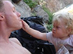 Rock Climbing Photo: Norah feeding me.