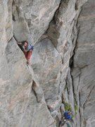 Ken Trout leading the 2nd pitch.  Photo by Michael Schlauch taken from Espresso.