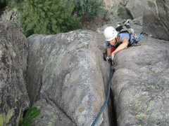 Rock Climbing Photo: MaryKay works up the final moves of the classic Em...