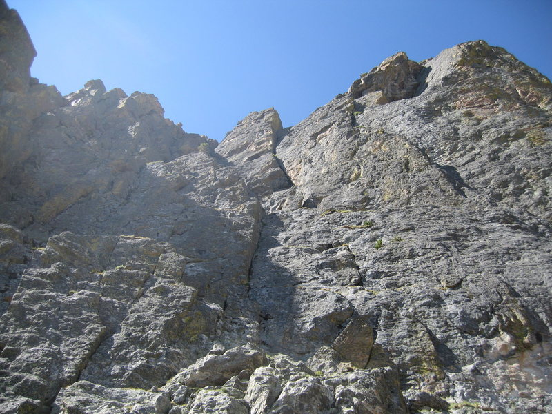 Rock Climbing Photo: The upper headwall of the First Buttress is shown....