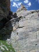 Rock Climbing Photo: Final rappel on the Zowie descent...finally.