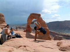 Rock Climbing Photo: Servantes' Russian @ Delicate Arch with Ray Alava ...