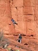 Rock Climbing Photo: First pitch of Tip Toe, sure felt harder than 10- ...