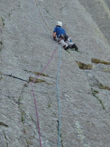 Rock Climbing Photo: Doug Hemken after the short traverse on P1