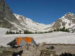 Rock Climbing Photo: Camp directly below the Orange Wall.  This photo i...