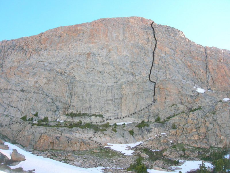 Rock Climbing Photo: This photo shows the Orange Wall and the relative ...