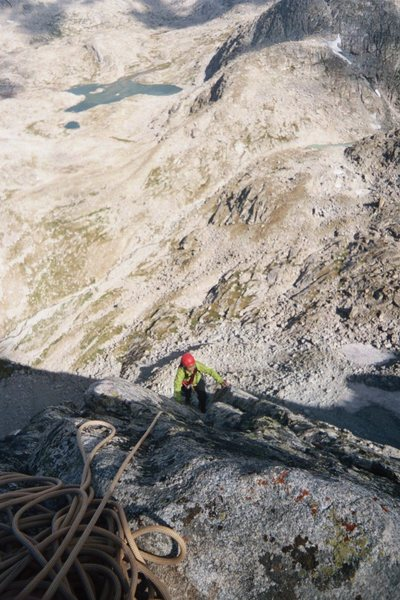 Emily Isaacs on the lower portion of the Ellingwood Arete.