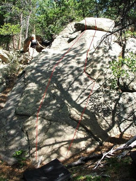 Rock Climbing Photo: A couple of fun 5.6 lines on a shady slab.