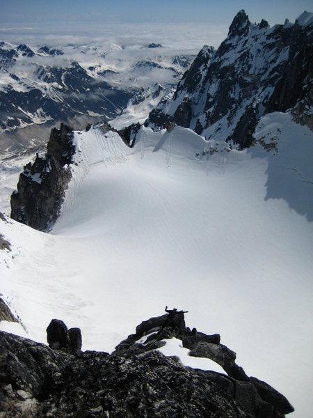 Brad on the Lost Marsupial Ridge. Granite Glacier behind - far left.