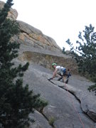 Rock Climbing Photo: 20 feet of the beautiful first pitch (flake) with ...