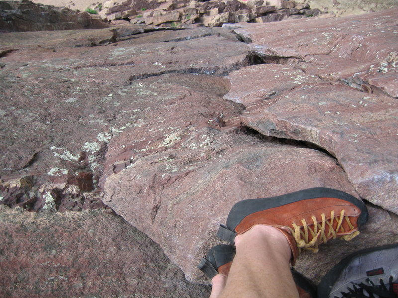 Rock Climbing Photo: The classic foot shot looking down the first pitch...