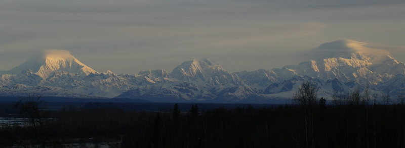 Panoramic view of Foraker, Hunter, and Denali from Talkeetna