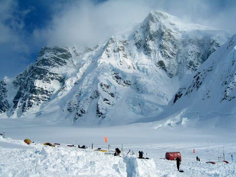 Kahiltna Base Camp with the Moonflower Buttress of Mt Hunter on the far left