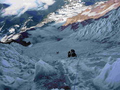 Rock Climbing Photo: Looking down the Kautz Glacier Route from Halfway ...