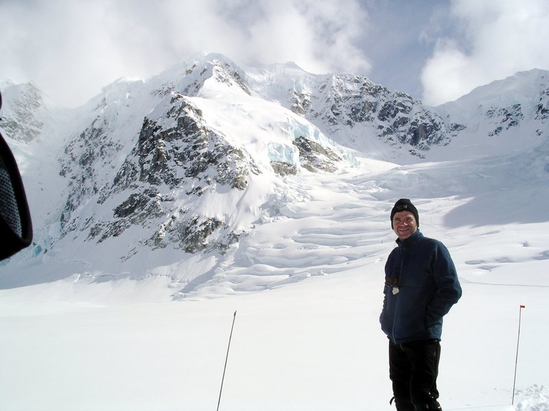 KZ at the start of the Northwest Basin Route (Bocarde Variation) of Mt Hunter's West Ridge