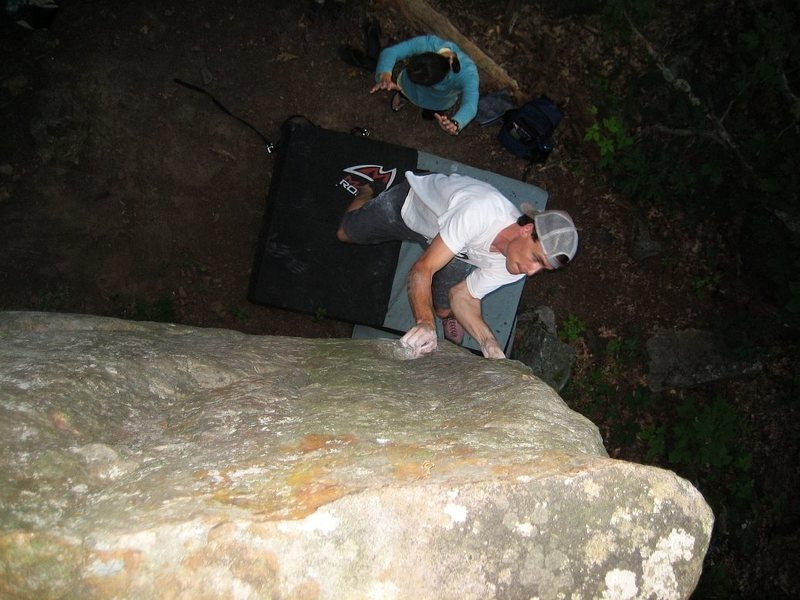 Rock Climbing Photo: Ben a bit higher up on Nameless trying to hold it ...