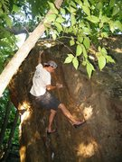 Rock Climbing Photo: Ben making short work of All in the Family.  Photo...