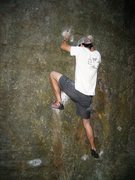 Rock Climbing Photo: Ben pulling off the high foot on SV.  Photo by Kel...