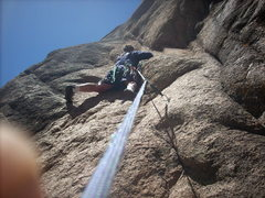 Rock Climbing Photo: Half Dome south side.  Me getting spanked on this ...
