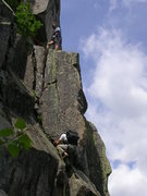 Rock Climbing Photo: Bradley White belaying John Brochu.  Photo by Tere...