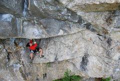 Rock Climbing Photo: Kayte starting Roaring Silence.