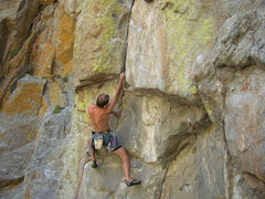 Rock Climbing Photo: John on is way to onsighting Arms B.