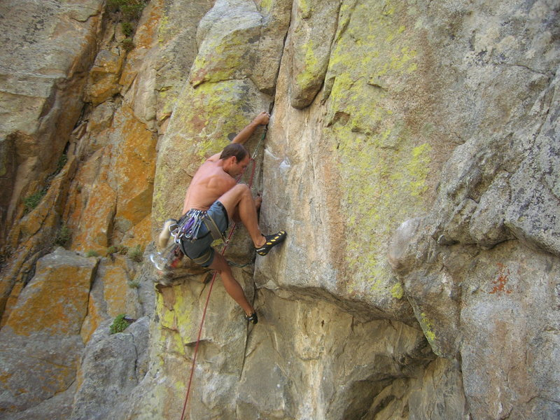 Rock Climbing Photo: John almost thru the business.