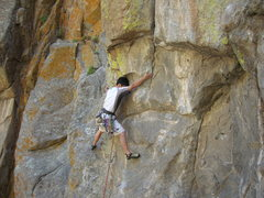 Rock Climbing Photo: Shumin looking for something to stand on during hi...