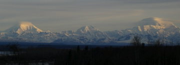Panorama of the Alaska Range showing Foraker, Hunter, & Denali