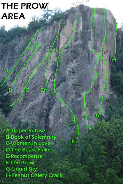 Some of the main routes on The Prow Area... The lines are not exact but good enough to get you where you're going...