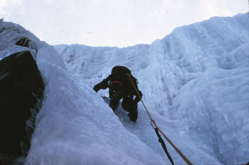 Pegasus: Frankenstein Cliff NH 1975<br> <br> Jeff Darde climbing a WI3+ classic established two years earlier by Rick Wilcox and John Bragg