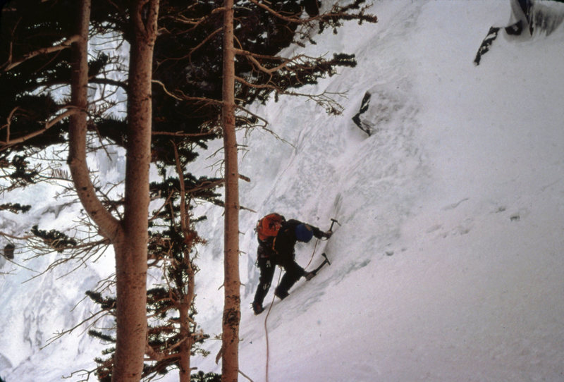 Mt. Lincoln Ice: Colorado 1978<br> <br> Topping out on a moderate route on Mt. Lincoln.