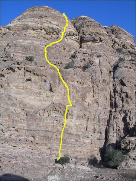 "Line Topo of the 5 pitch route ""The Face"""