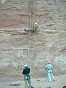 Rock Climbing Photo: Res cranking a hard route in Barrah Canyon