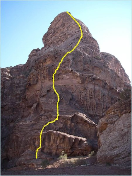 Rock Climbing Photo: Topo of the new route Bedouin Life near Wadi Araba