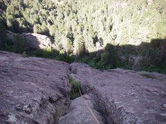 Rock Climbing Photo: Matt about to leave 1st belay station.  2nd belay ...