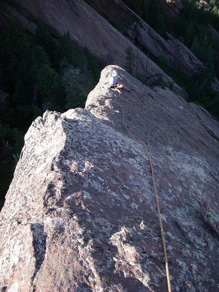 Matt belaying on the very cool ridge (belay #3).
