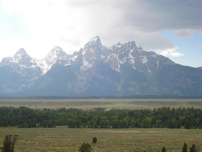 Tetons from the road. July 20, 2008
