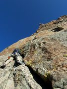 Rock Climbing Photo: Dean leading P2 on the SW corner....