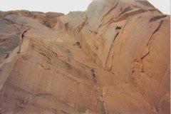 Rock Climbing Photo:  Jumaring the first impressive 60m corner pitch.