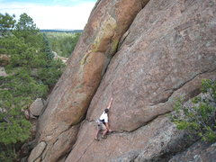 Rock Climbing Photo: Reaching up to clip the 4th bolt on Gila Monster. ...