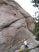 Rock Climbing Photo: George Perkins on the sharp end on Better Red Than...