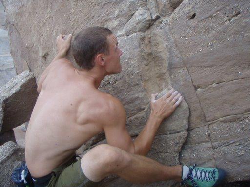 Rock Climbing Photo: climbing 'Slinky' (V2)