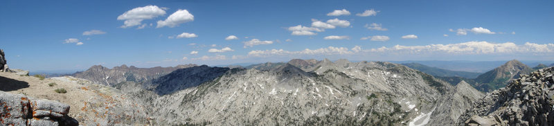 A panoramic view eastward from the summit of <em>Lone Peak</em>.