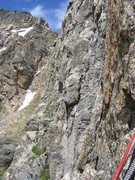 Rock Climbing Photo: Second bolted rap station, ca 170 feet down from t...