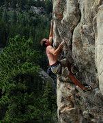 Rock Climbing Photo: Jeff making the crux reach.