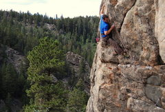 Rock Climbing Photo: On the good hold, crux is done with just runout sl...
