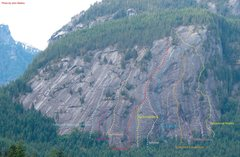 Rock Climbing Photo: Photo of routes to 2007 on Psyche Slab.
