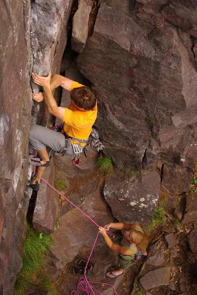 Catenary Crack. Crux. Henning Boldt on lead. July '08.