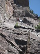 Rock Climbing Photo: Rick Blair leading on Hot! day.